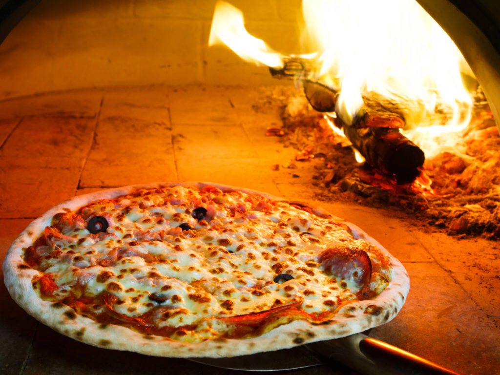 pizza in a firewood oven