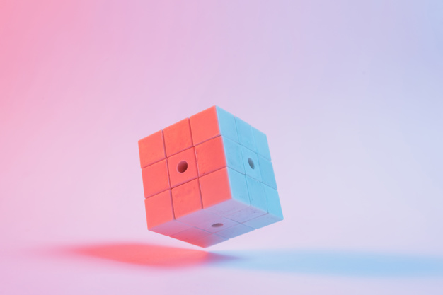 cube on a pink background