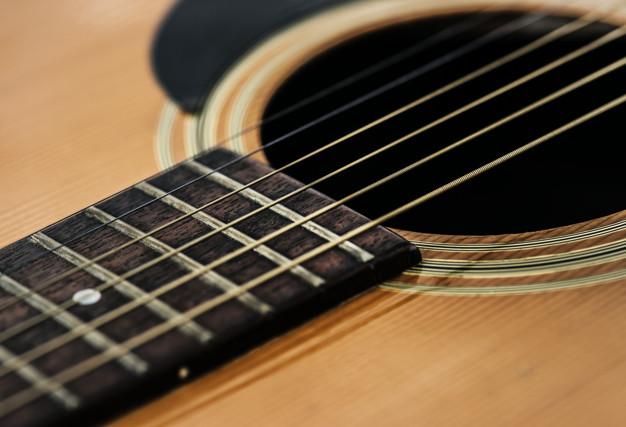 closeup of kitara strings