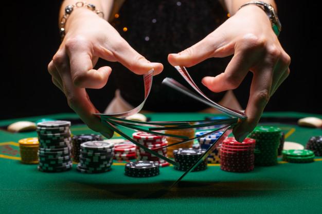 shuffling poker cards
