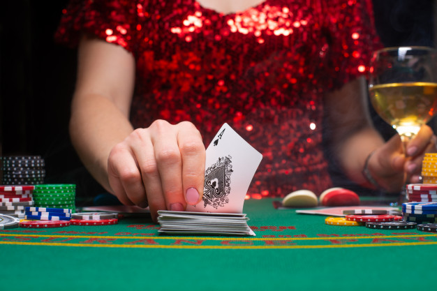 girl playing Blackjack
