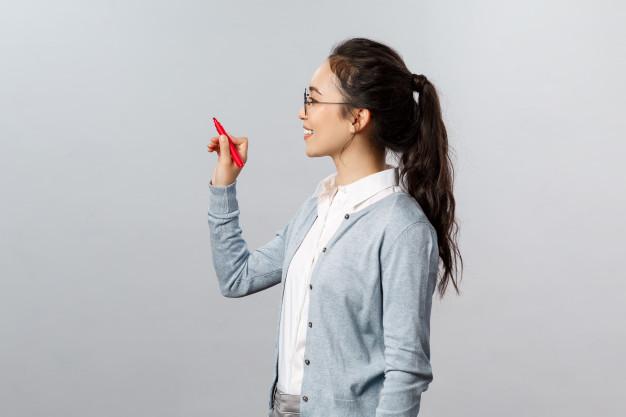 female student as a teacher