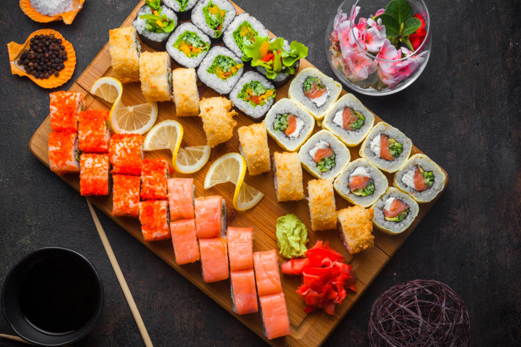serving board with sushi